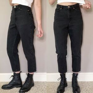 ASOS Monki high rise cropped mom jeans black 25